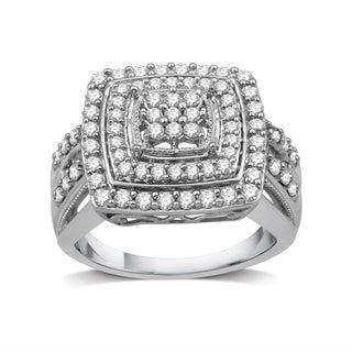 1 CTTW Diamond Cluster Square-Framed Ring in Sterling Silver (I-J, I3) - White I-J