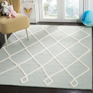 Safavieh Kids Transitional Geometric Hand-Tufted Wool Mint/ Ivory Area Rug (6' x 9')