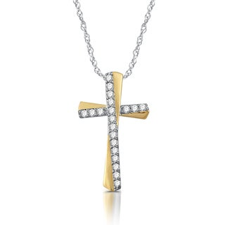 1/4 CTTW Diamond Cross Pendant In Sterling Silver With Yellow Gold Plating (I-J, I2-I3)
