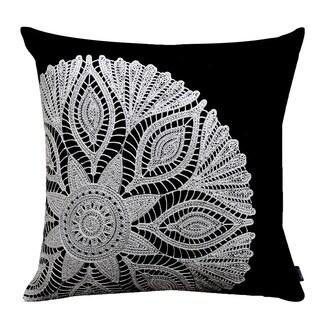 Black Crochet Motif 20-inch Cotton throw Pillow