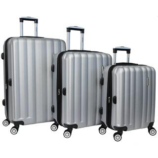 World Traveler 3-piece Lightweight Hard-sided Spinner Luggage Set with TSA Locks (Option: Silver)