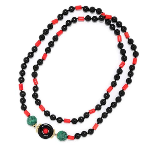 Michael Valitutti Palladium Silver Asia Red Bamboo Coral, Carved Malachite & Onyx Beaded Necklace
