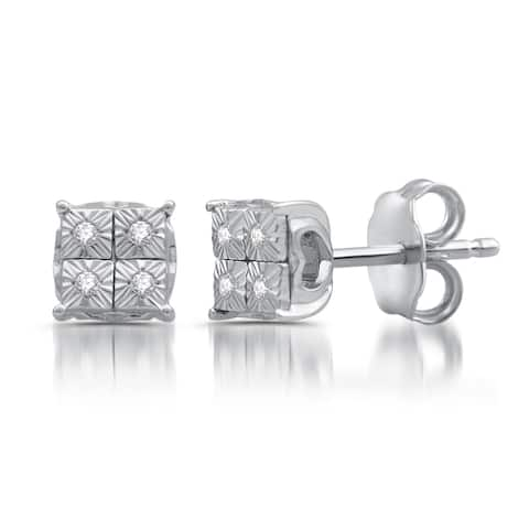 Diamond Accent Composite Stud Earrings In Sterling Silver (I-J, I3)