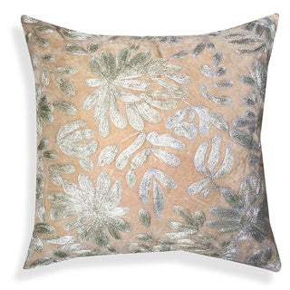 A1HC Brown Cotton Velvet 20-inch Floral Embroidered Throw Pillow