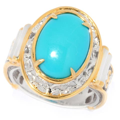 Michael Valitutti Palladium Silver Oval Sleeping Beauty Turquoise Ring