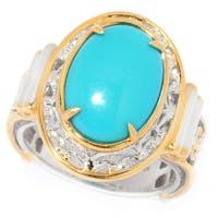Michael Valitutti Palladium Silver Oval Sleeping Beauty Turquoise Ring