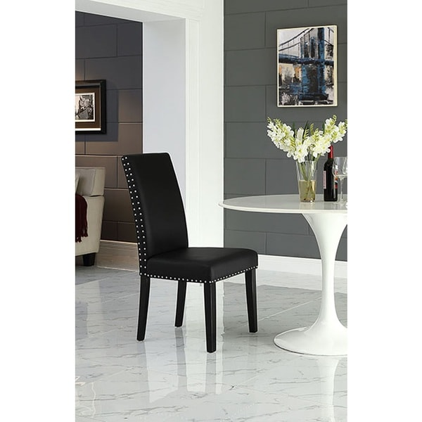 Milton Nailhead Trim Black Parson Dining Chair