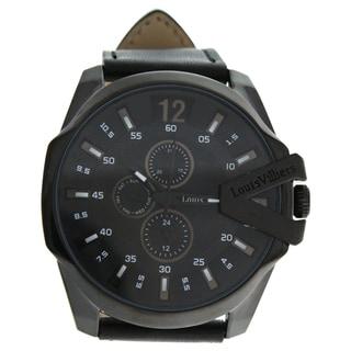 Louis Villiers LVAG8912-8 Black/Black Men's Leather Strap Watch