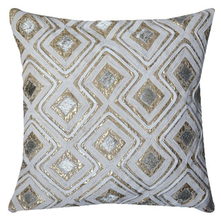 A1HC Geometric Brown and White Cotton and Velvet 20-inch Throw Pillow