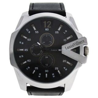 Louis Villiers LVAG8912-21 Silver/Men's Black Leather Strap Watch