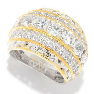 Michael Valitutti Palladium Silver White Zircon 3-Row Tiered Band Ring