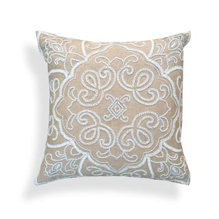 A1HC Moroccan Beige/White 18-inch Cotton Embroidered Throw Pillow