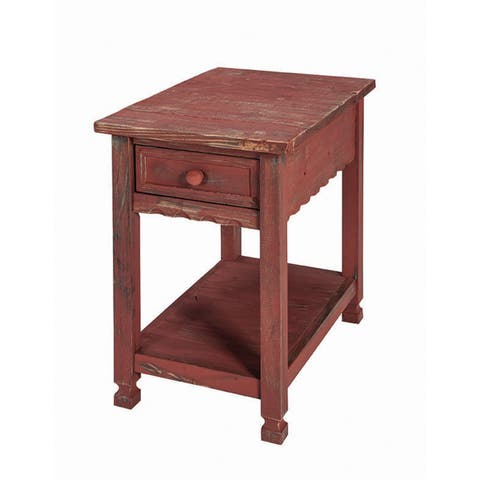 """Alaterre Country Cottage 15""""W Wood Chairside End Table, Red Antique Finish"""