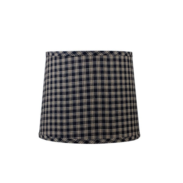 Somette Black and Tan Checked Drum Lamp Shades (Set of 4)