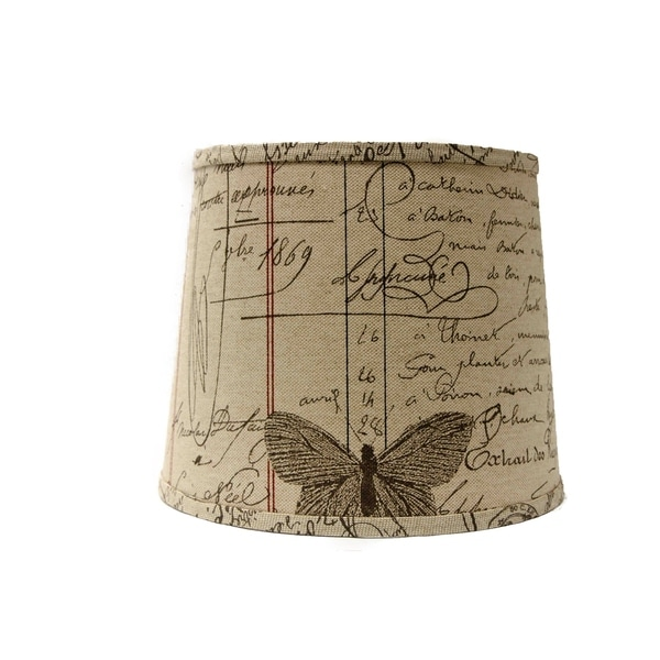 Somette Antique Ledger Fossil 16 inch Drum Lamp Shade with Uno