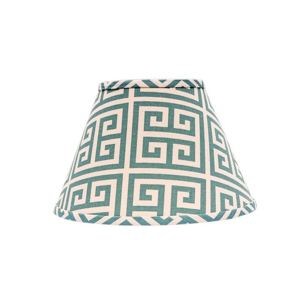 Somette Aqua Greek Key 12 inch Empire Lamp Shade with Washer