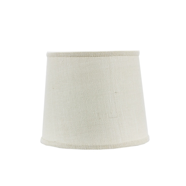 Somette White Burlap 10 inch Drum Lamp Shade with Washer