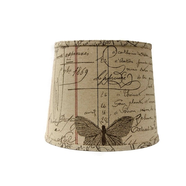 Somette Antique Ledger Fossil 14 inch Drum Lamp Shade with Washer