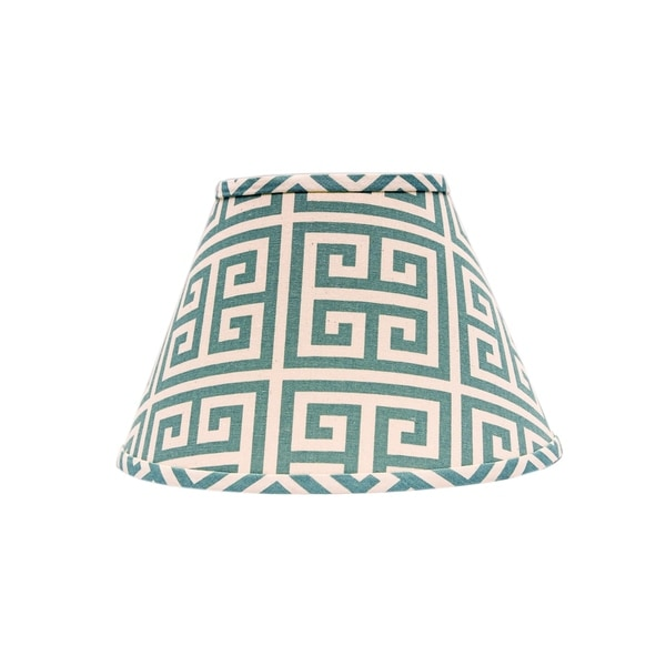 Somette Aqua Greek Key 14 inch Empire Lamp Shade with Uno Fitter