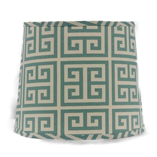 Somette Aqua Greek Key 12 inch Drum Lamp Shade with Washer