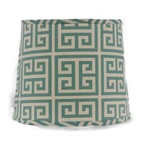 Somette Aqua Greek Key 16 inch Drum Lamp Shade with Washer