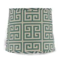 Somette Aqua Greek Key 10 inch Drum Lamp Shade with Washer