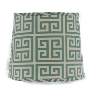 Somette Aqua Greek Key 14 inch Drum Lamp Shade with Washer