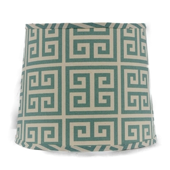 Somette Aqua Greek Key 16 inch Drum Lamp Shade with Uno