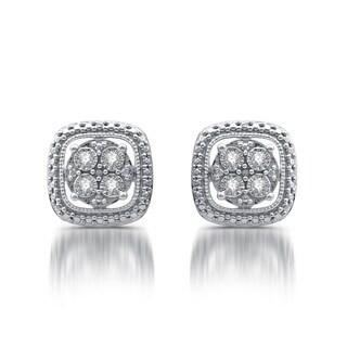 1/10 CTTW Diamond Cushion Shape Stud Earring In Sterling Silver (I-J, I3)