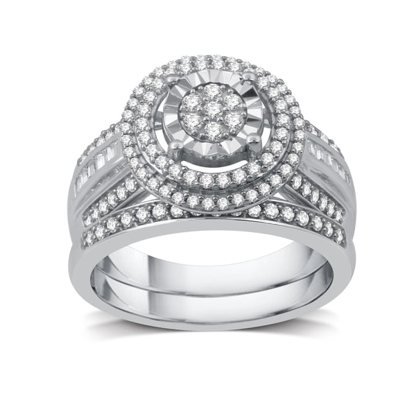 3/4 CTTW Diamond Composite Bridal Set In Sterling Silver (I-J, I2-I3) - White I-J