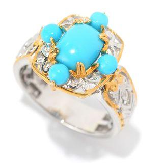 Michael Valitutti Palladium Silver Cushion & Round Sleeping Beauty Turquoise Five-Stone Ring