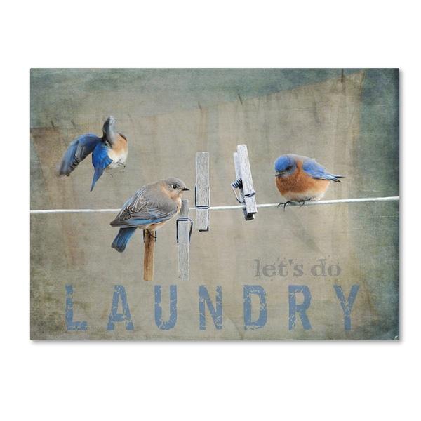Jai Johnson 'Laundry Day Bluebirds' Canvas Art