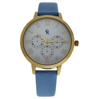 Charlotte Raffaelli CRB011 La Basic - Gold/Light Blue Women's Leather Strap Watch