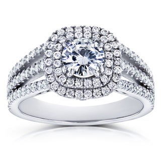 Annello by Kobelli 14k White Gold 2ct TCW Forever One (D-F) Moissanite and Halo Diamond Multi-row Split Band Engagement Ring
