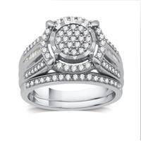 3/4 CTTW Diamond Round Framed Bridal Set In Sterling Silver (I-J, I2-I3) - White I-J