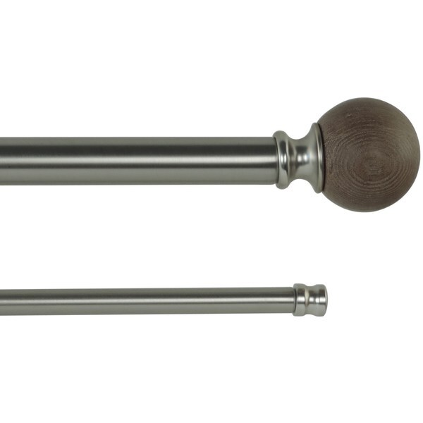 Orion Adjustable Double Curtain Rod With Round Finials