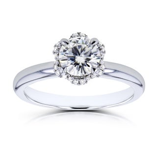 Annello by Kobelli 14k White Gold 7/8ct TGW Moissanite (H-I) and Diamond Accented Floral Engagement Ring