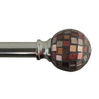 Mosaic Adjustable Single Curtain Rod With Round Finials