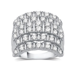 2 CTTW Diamond Multi-Row Right hand Ring In Sterling Silver (I-J, I2-I3) - White I-J