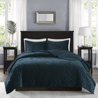 Madison Park Emery Teal Velvet Quilted Coverlet Set