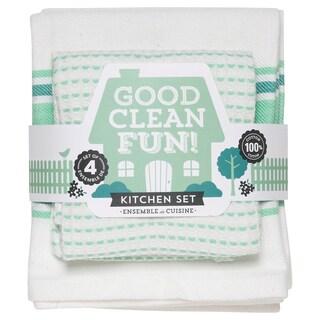 Now Designs Kitchen Towel Set Good Clean Fun, Spearmint (Set of 4)