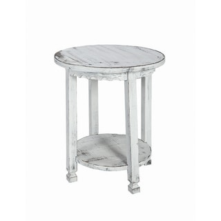 Alaterre Reclaimed Wood Round Country Cottage End Table