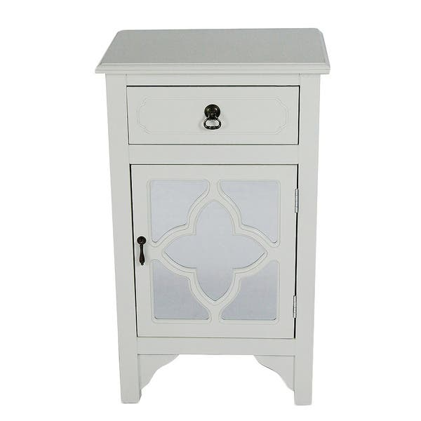 Single Drawer Distressed Decorative Accent Storage Cabinet With Clover Gl Mirror Window Inserts
