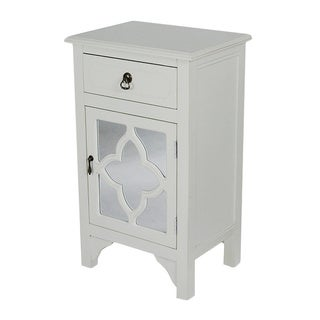 Single Drawer Distressed Decorative Accent Storage Cabinet with Clover Glass Mirror Window Inserts