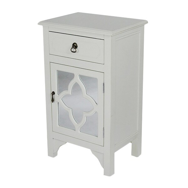 Single Drawer Distressed Decorative Accent Storage Cabinet with Clover Glass Mirror Window Inserts 27608733