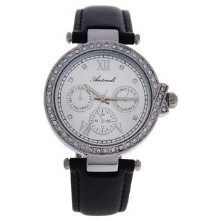 Antoneli AL0519-07 Silver/Black Women's Leather Strap Watch