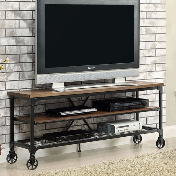 Shop Ventura Li Metal And Wood Industrial 72 Inch Tv Stand Free