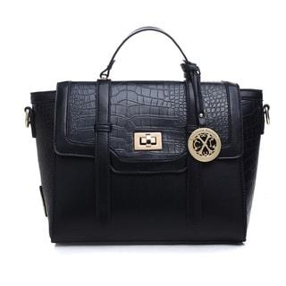 Christian Lacroix CXL Ophelie Black Faux Leather Satchel Handbag