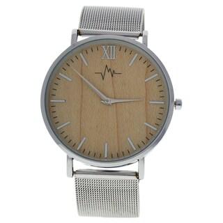 Andreas Osten AO-193 Hygge - Silver/Wood Stainless Steel Women's Mesh Bracelet Watch