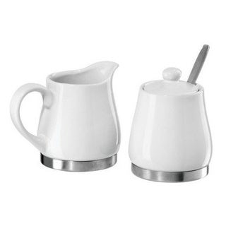 Stainless Steel Base Ceramic Sugar and Creamer Set